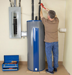 Plumber Installing a Water Heater
